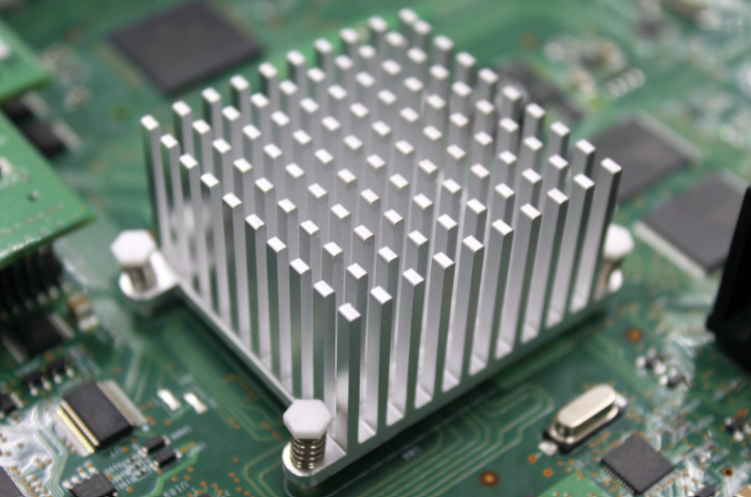 A white heat sink, commonly used in high temperature pcb applications.