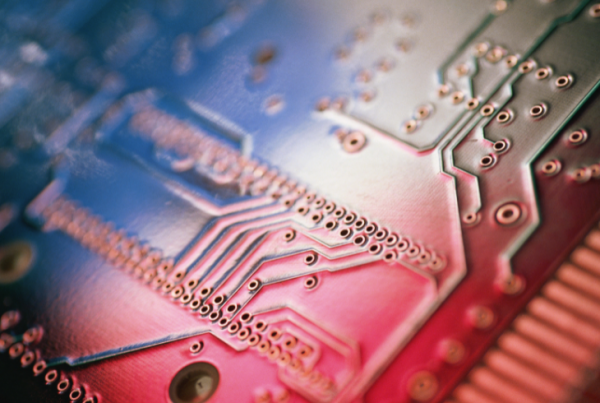 image of printed circuit board indicating a spectrum of solder mask color options